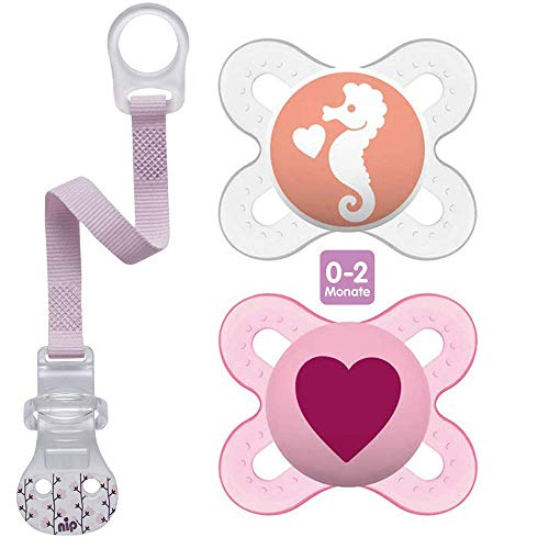 MAM Chupete de silicona  Skin Soft , especial para bebés prematuros y recién nacidos, extra pequeño, 0-2 meses, juego de 2, incluye caja de transporte y cinta para chupete
