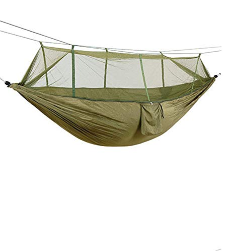 Camping Hammock with Net-Lightweight Portable Double Parachute Hammocks-Perfect for Hammock Camping,Backyard Relaxation (Army Green,260140CM)