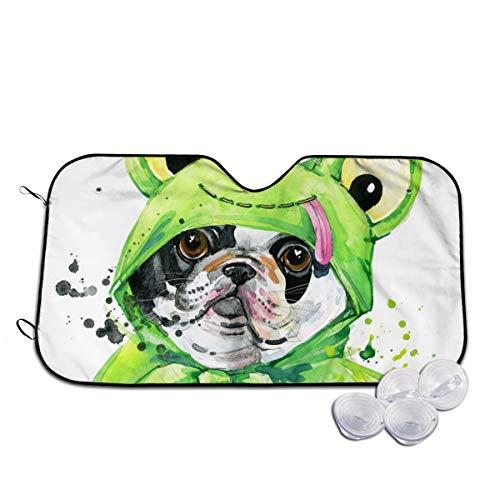Rterss hond dragen groene kikker kostuum voorruit zon schaduw vizier voorzijde venster glas voorkomen dat de auto van verwarming tot binnen