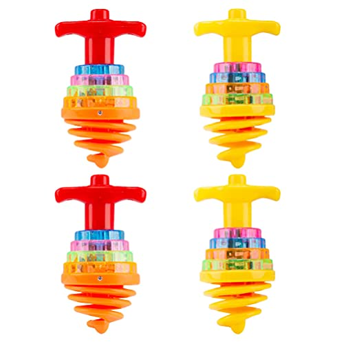 TOYANDONA 4 Piezas de Encimeras Giratorias Luminosas para Niños Giroscopio Intermitente LED Que Gira Los Juguetes Superiores para Los Niños Regalos de Fiesta a Granel ( Color Aleatorio )