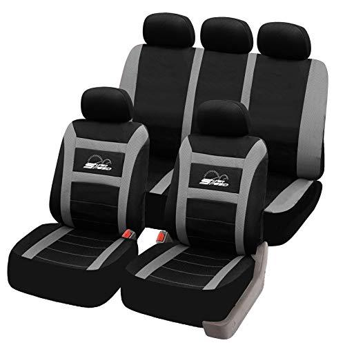 eSituro universal Sitzbezüge für Auto Schonbezug Komplettset schwarz/grau SCSC0096