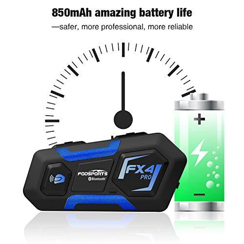 FODSPORTS FX4 Pro Interfono Moto Bluetooth Coppia Con Look Fantascientifico,Interfoni Moto Per 4 Motociclisti,Mani Libere,Suono Stereo Hi-Fi,CVC Riduzione Del Rumore,Auricolari Casco,GPS Vocale,FM
