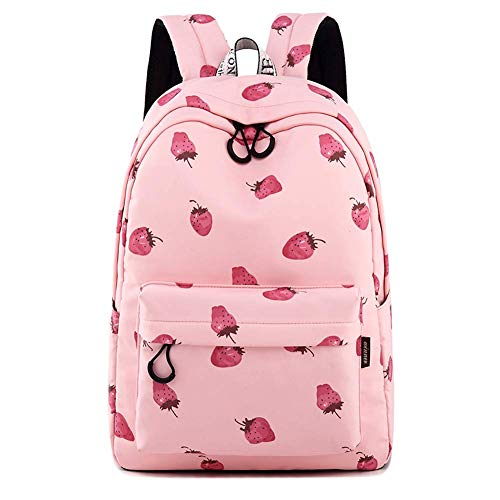 Silver Tulip College Children School Book Bags Girls Travel Canvas Backpack (Pink Strawberry)