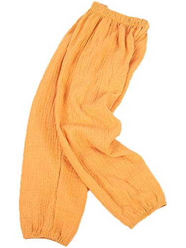 Kinder Mädchen Jungen Sommer Baumwoll Leinenhose Pumphose Elastische Lässige Anti-Moskito Jogginghose Lässige Pants Hose Tag140