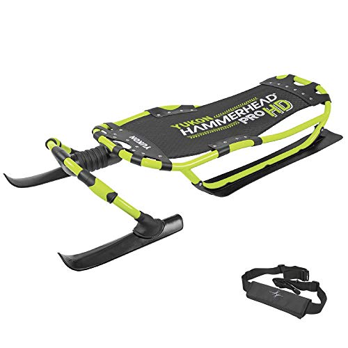 Yukon Hammerhead Pro HD Steerable Snow Sled with Aluminum Frame , Green ,51' x 22.5'