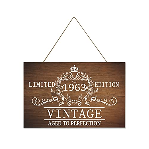 Tentenentent 1963 Aged to Perfection - Cartel de madera retro personalizado, 40 x 25 cm, color blanco