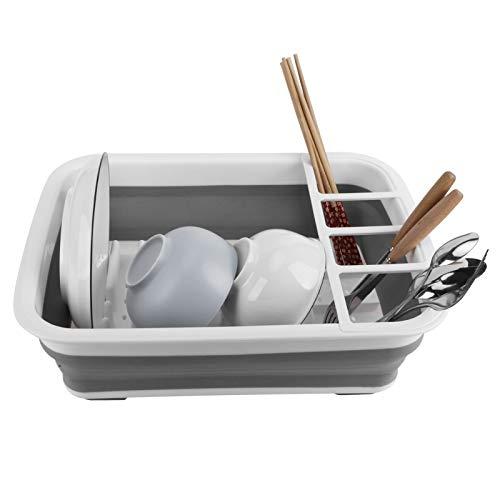 Escurridor de platos Cesta de desagüe plegable: Cesta de desagüe plegable Estante de almacenamiento de platos de secado Escurridor de platos para organizador de mostrador de cocina