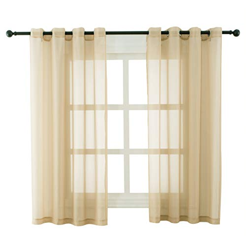 Bermino Sheer Curtains Voile Grommet Semi Sheer Curtains for Bedroom Living Room Set of 2 Curtain Panels 54 x 63 inch Sand