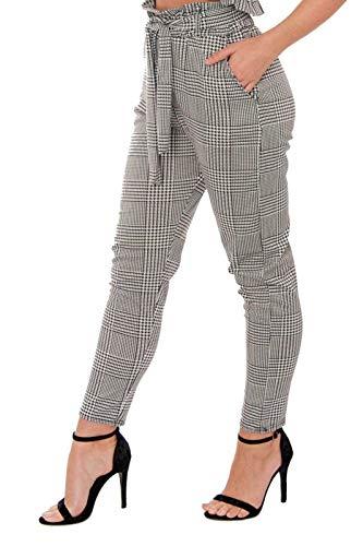 Re Tech UK - Damen Hose mit hohem Paperbag-Bund - elastisch - tailliert - mit Taschen - Gingham-Karomuster - 42