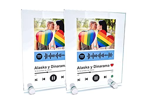 2 Cuadros en Cristal Personalizados con canción y Foto. Regalo Original. Regala...