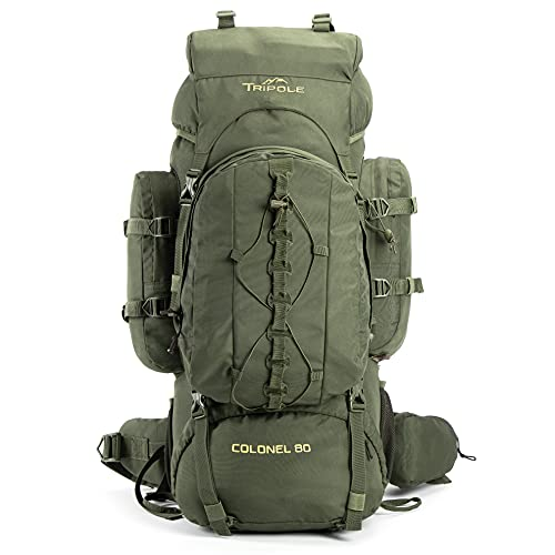 Tripole Colonel 80 Litres Rucksack + Detachable Day Pack, Army Green