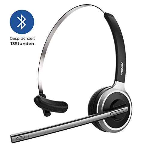 Mpow [Upgrade-Version} Bluetooth Headset LKW-Fahrer Wireless Headset mit Mikrofon 13 Stunden Laufzeit Bluetooth Telefon Chat Headset für Handy, Laptop,VoIP, Skype, Call Center, Büro usw