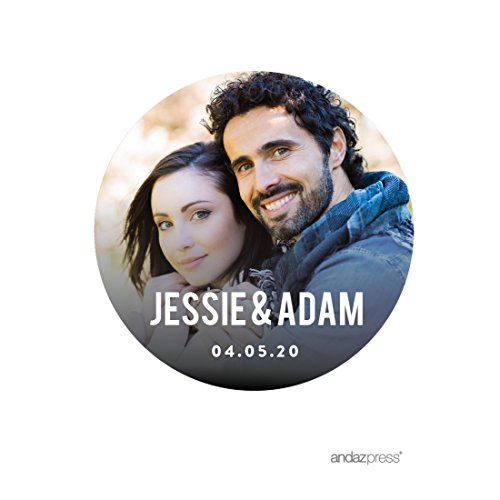 Andaz Press Photo Personalized Modern Wedding Collection, Round Circle Gift Label Stickers Bride Groom Names and Date, 40-Pack, Custom Image