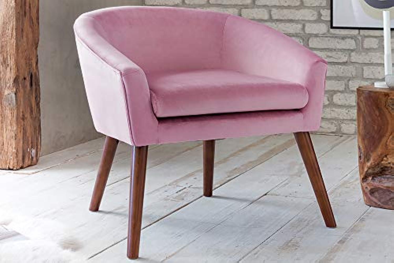 SalesFever Relax-Sessel Elenore Rosé  Stoffbezug in Samt-Optik 68 x 65 x 72 cm  Buche Gestell  Sitz- und Rückenpolsterung
