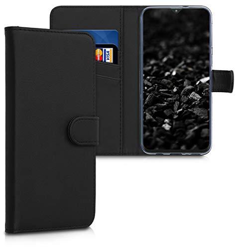 kwmobile Wallet Hülle kompatibel mit Samsung Galaxy M20 (2019) - Hülle Kunstleder mit Kartenfächern Stand in Schwarz