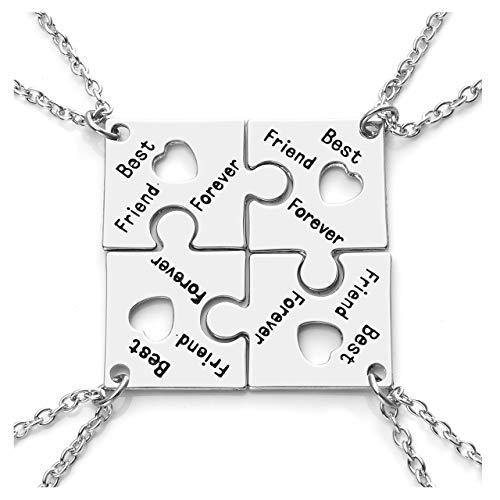 Jovivi Silver Engraved Best Friend Forever Friendship Necklaces for 4,Heart Jigsaw Puzzle Piece Pendant Necklace for Women Sisters Friends Keepsake Jewellery Set