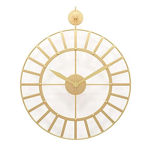 SOFACTY Metallo Orologio da Parete Grandi Silenzioso Non Ticchettio Vintage Orologio per Ufficio Soggiorno Cucina Bar,d'oro