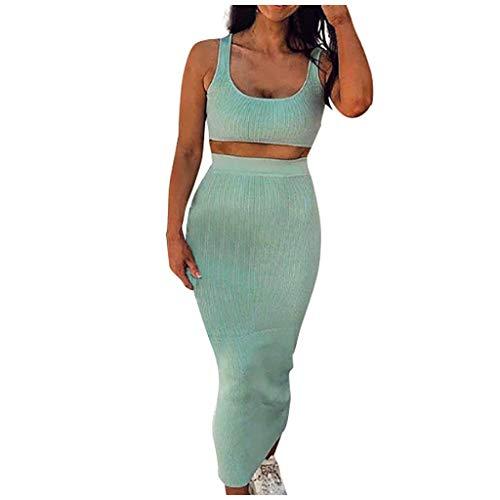 YBWZH Frauen Zweiteiler Schnalle Tank Tops Hohe Taille Elastische Röcke Bodycon Casual Crop Top Outfit Set Casual Weste Sport Fitness Set Elastische Tops + Röcke