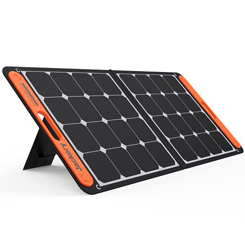 Jackery SolarSaga 100W Portable Solar Panel for Explorer 240/300/500/1000/1500 Power Station, Foldable US Solar Cell Solar Charger with USB Outputs for Phones(Renewed))