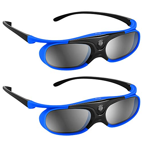 BOBLOV Active Shutter 3D Glasses DLP-Link Rechargeable 144Hz for All 3D DLP Projectors Compatible with Optoma BenQ Sharp Acer Samsung Mitsubishi DLP projectors (Blue 2-Pack)