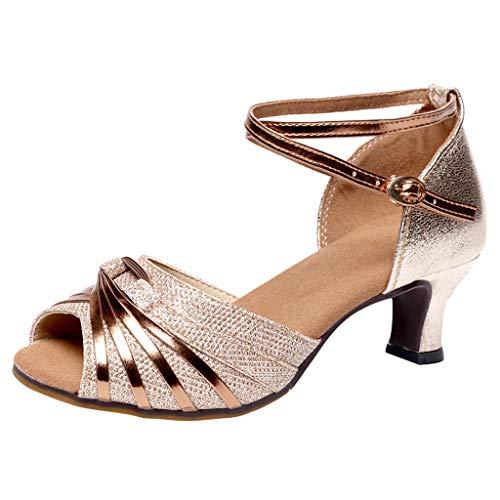 Damen Rumba Waltz Prom Ballsaal Latin Dance Sandalen mit Absatz Strap Schnalle Schuhe High Heel Blockabsatz Tanzschuhe, Gold, 34 EU