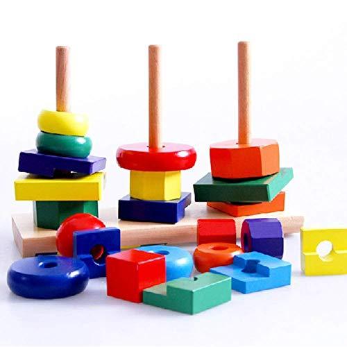 nakw88 Madera Educativo Geométrico Apilable Juguete, Arcoiris Anillos Niños Geométrico Apilable Juguete Niños para Niñas y Niño Regalo - Colorido, Free Size