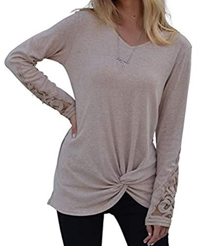 x8jdieu3 Ladies V-Neck Stitching Lace Langarm Twisted Hem Urban Casual Top T-Shirt