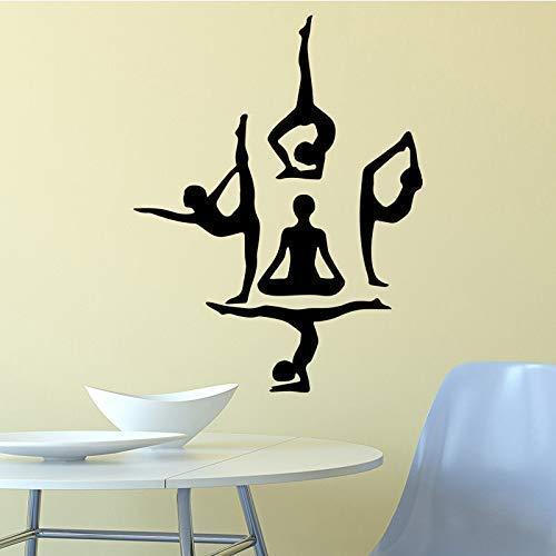 Yoga Girl Pegatinas De Pared Pegatinas De Pared De Moda Moderna Decoraciones Para El Hogar Sala De Estar Pegatinas De Habitación M 58 * 76Cm
