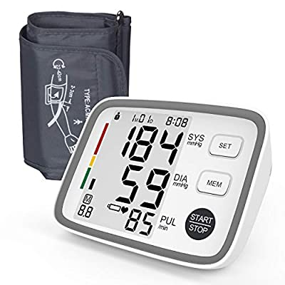 Wamlife Blood Pressure Monitor Upper Arm with Easy to Use, Large Display & Voice, Wide-Range Cuff for Home (Gray)
