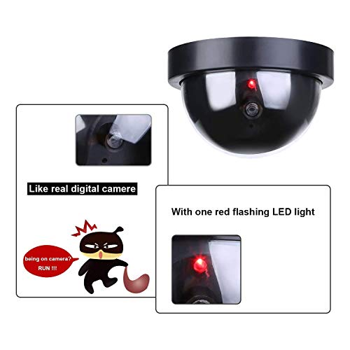 Simxen 4 Pcs Dummy CCTV Dome Camera with Blinking Red LED Light for Home Or Office Security Camera