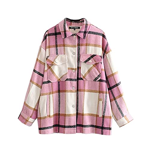 Vintage con estilo bolsillos de gran tamaño chaqueta a cuadros abrigo mujeres moda solapa cuello