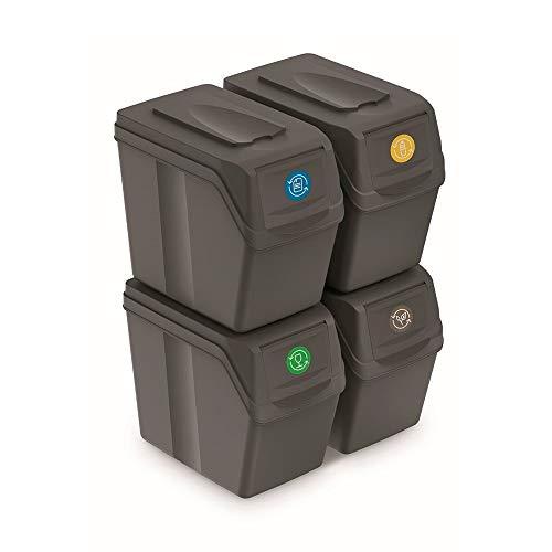 Prosperplast Juego de 4 Cubos de Reciclaje 80L Sortibox de plastico en Color Gris, 4x20L