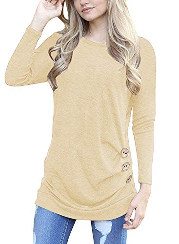 I2CRAZY Womens Baggy Comfy Long Sleeve Shirts and Blouses Plus Size Tops for Women-2XL,Khaki