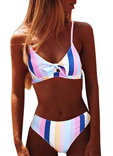 CheChury Brazilian Bikini Damen Set Push Up Sexy Triangel Bikini Oberteil Gepolstert Zweiteiliger Badeanzüge Split Strandkleidung - Rosa - L