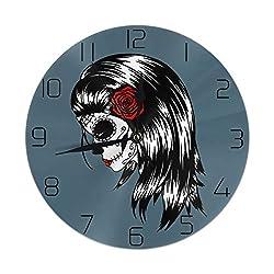 XIVEIER 10 Inch Design Skull La Calavera Catrina Arabic Numerals Wall Clock for Bedroom
