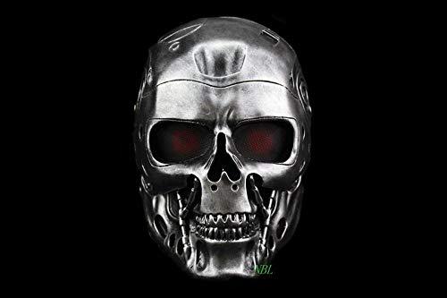 WATCBQ Halloween Maske Halloween Cos Terminator Helmmaske Horror Gruselige Harzmaske Maskerade Skeleton Party Cosplay Requisiten-Silber