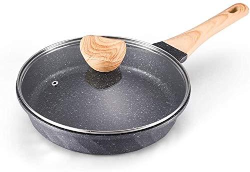 Pan inductie koekenpan 20cm / 24cm / 28cm / 30cm Aluminum pot Forged Omelet Pan Maifanshi antikleeflaag en hittebestendig handvatten for inductiekookplaten PFOA-Free HAOSHUAI (Size : 24cm with lid)