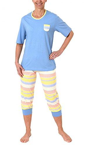 Creative by Normann Damen Pyjama Kurzarm mit Capri-Hose in toller frischer Optik - 60730, Farbe:blau;Größe:40/42