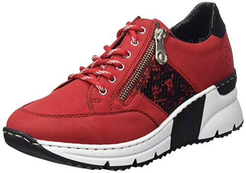 Rieker Damen N6322 Sneaker, Rosso/rot-schwarz/Black 33, 38 EU