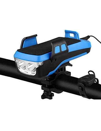ZLDM Luce per Bici 4 in 1, Set di Luci per Bici con Faro a LED Ricaricabile USB, con Tesoro di Ricarica di Grande capacità 4000mah, Supporto per Cellulare, Campanello per Bici, Power Bank