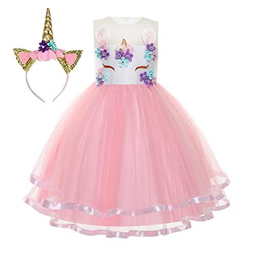 Foierp einhorn kostüm kinder,Mädchen Prinzessin Kleid Prinzessin Langes Abendkleid für 3-10Jahre