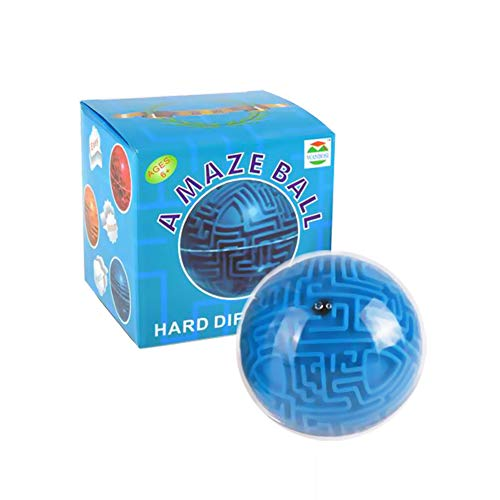 DDG EDMMS Mini 3D Magic Maze Puzzle Game Cube Boule Terre Boule Volume Labyrinthe Jouet Casse-tête Jeu d'apprentissage Education Cadeau de Jouets éducatifs Bleu (Difficulté Difficulté)