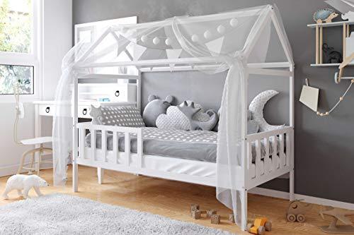 Casa Cama Montessori 70x140 80x160 - Cama Cabaña para Niños y Niñas - Madera de Pino Natural - Barandilla de Seguridad - 160x80