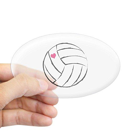 CafePress – Volleyball- Herz Aufkleber – Oval Autoaufkleber Euro-Oval