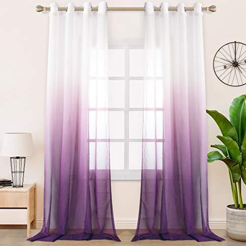 tende soggiorno viola FLOWEROOM - Set di 2 tende in finto lino sfumato per camera da letto/soggiorno