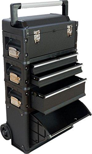 ASS Metall Werkzeugtrolley Werkstattwagen XXL Type: C1-B BLACK EDITION schwarz mit Schubladenverriegelung und Schloss