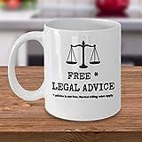 Taza de café con asesoramiento legal gratuito, divertido abogado en la ley, regalo de broma para hombres y mujeres, abogados, regalos de oficina, 325 ml
