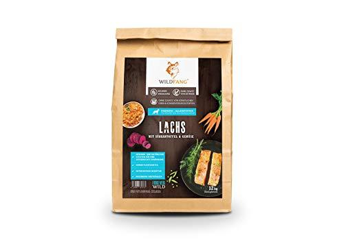 Wildfang® Hundefutter Trocken - 12kg - Getreidefreies Hundefutter - Lachs mit Süsskartoffel & Gemüse | Ideal für Welpen und Junge Hunde