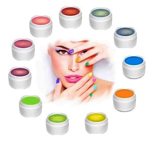 Lot de 11 Gels Uv de couleur Fluo/Golden - 5 ml - PURENAIL, nail art et deco d'ongles PROMOTION