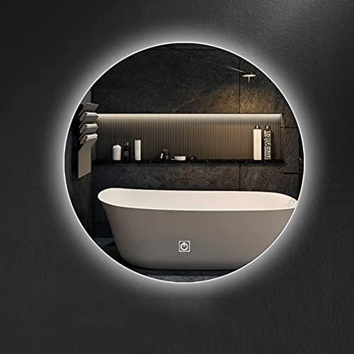 Qutech 50cx50cm Espejo de Baño LED Redondo, 60x60cm Espejo de Vanidad de Dormitorio con Iluminación Inteligente Espejo de Maquillaje, Espejo de Sala de Estar Sin Marco Montado en La Pared
